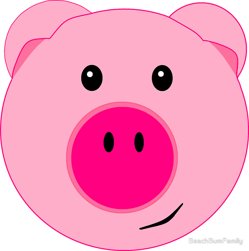 Cute pink pig face stickers by beachbumfamily redbubble clip art