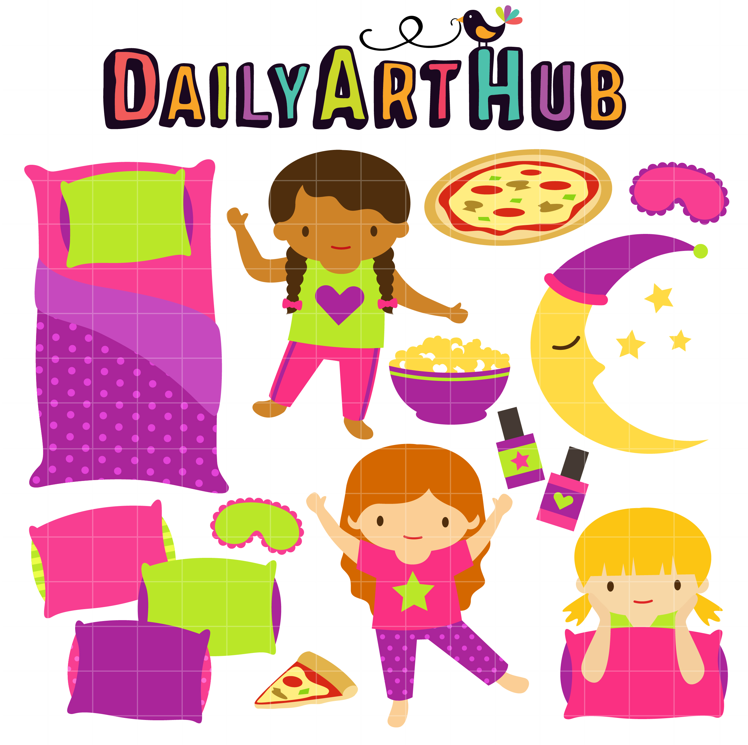 Fun slumber party clip art set daily hub free