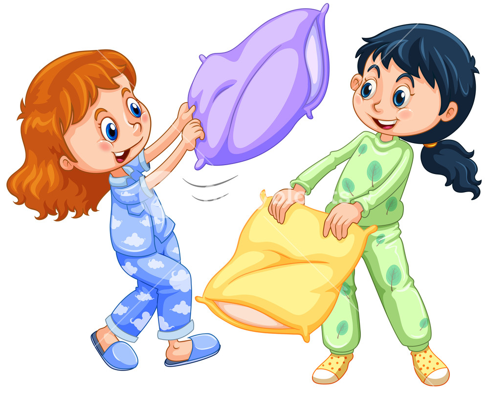 Girls playing pillow fight at slumber party illustration clipart