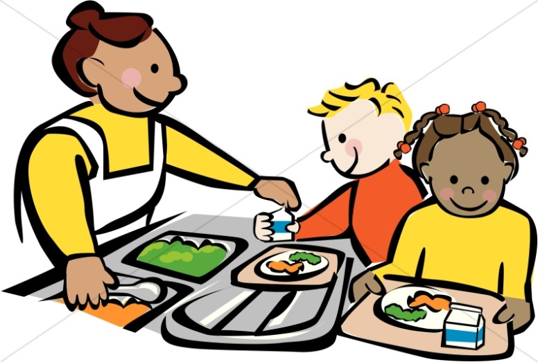 Lunch tray breakfast clipart cafeteria pencil and in color breakfast