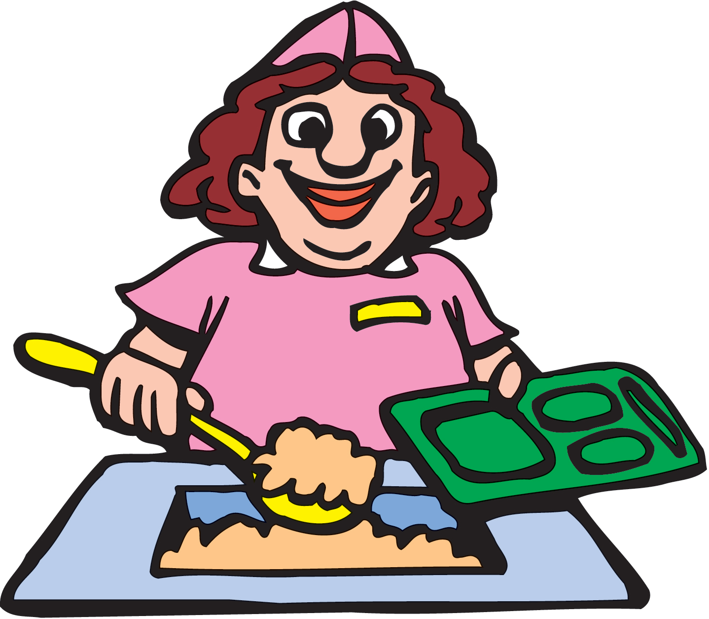 Lunch tray woman clipart lunch pencil and in color woman