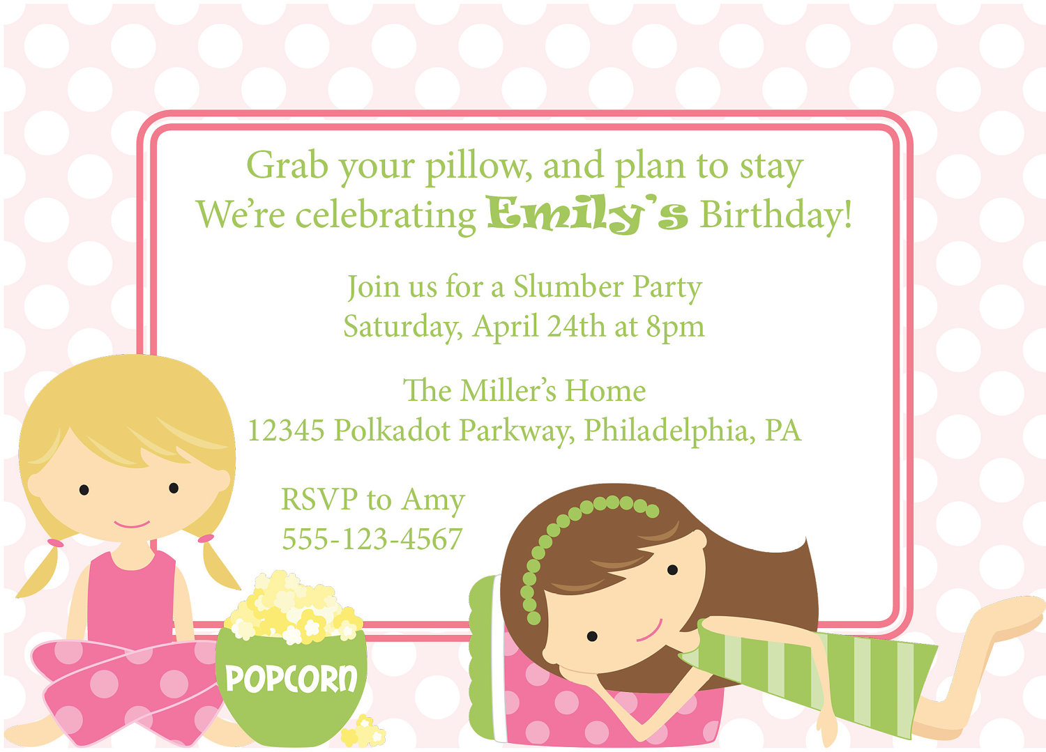 My slumber party invitation einvite birthday parties clipart