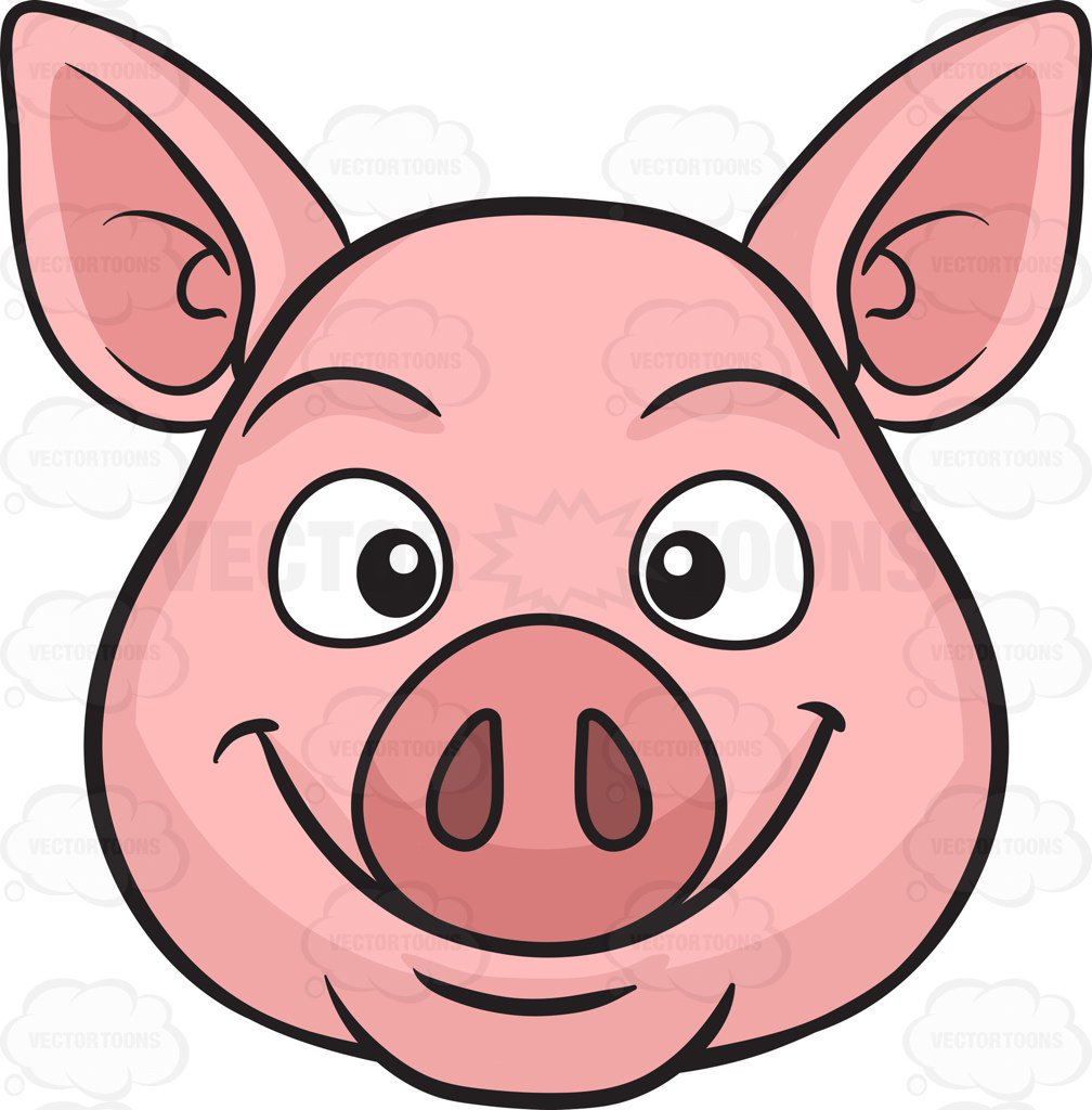 Pig face a smiling pig cartoon clipart vector toons