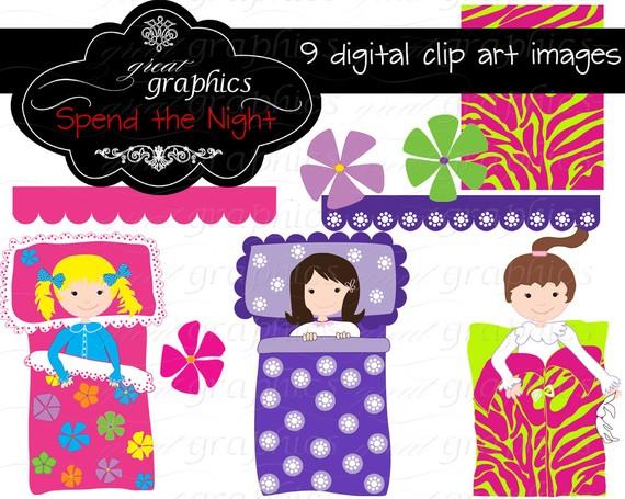 Slumber party clipart girls clip art 2