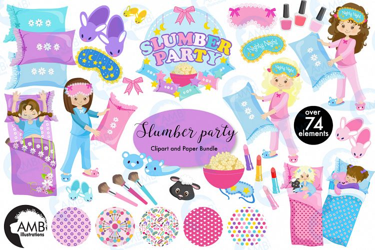 Slumber party pyjama party clipart meg design bundles