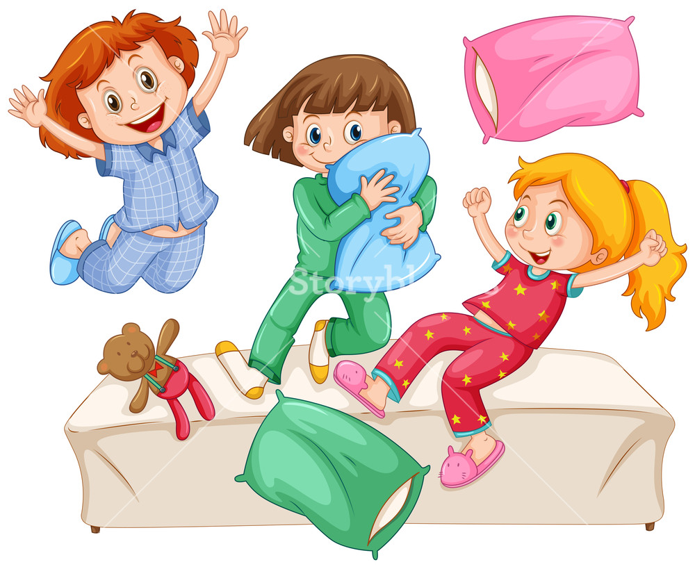 Three girls playing pillow fight at the slumber party illustration clipart