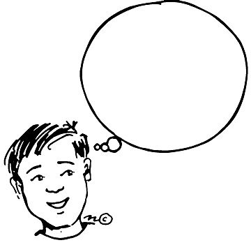 Child Thinking Clipart Black And White